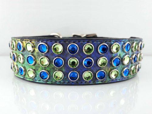 Dog collar Mucho in crystal rainbow Italian leather with peridot and Bermuda blue Swarovski crystals