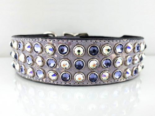 Dog collar Mucho in Italian leather and lavender pearl suede with velvet and AB Swarovski crystals