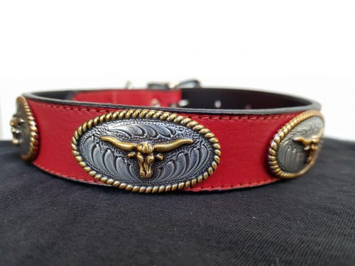 Dog collar No Bull in red Italian leather