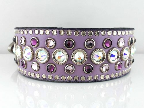 Dog collar Princess Crystal in lavender Italian leather with AB, light amethyst & amethyst Swarovski crystals