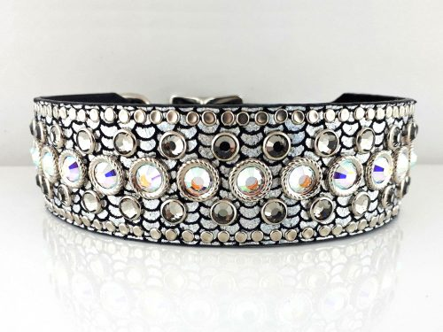 Dog collar Princess Crystal in shiny Italian leather with black diamond & AB Swarovski crystals