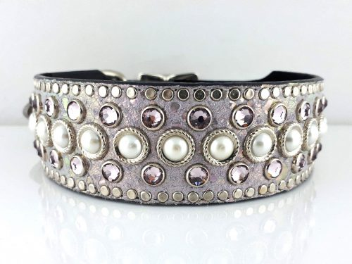 Dog collar Princess Pearl in Italian leather and lavender pearl suede with pearls and light amethyst Swarovski crystals