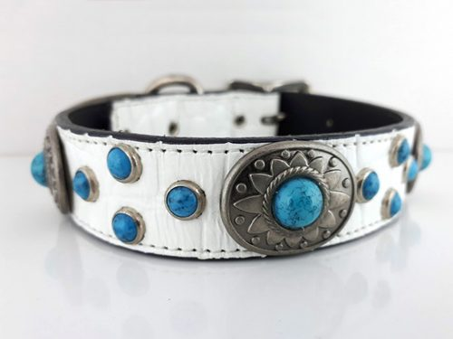 Dog Collar Southwest Mideval in white Italian crocko leather with conchos and turquoise