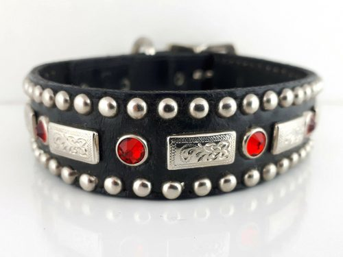 Dog collar Square Crystal in black Italian leather with siam Swarovski crystals