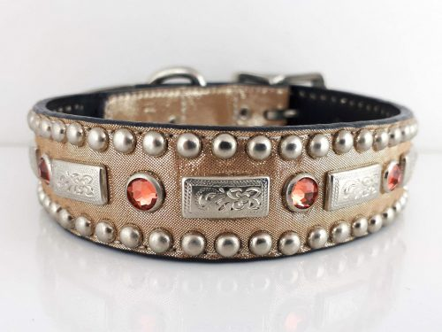 Dog Collar Square Crystal in Italian leather and champagne metallic suede with papa Swarovski crystals