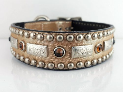 Dog collar Square Crystal in Italian leather and champagne metallic suede with smoke Swarovski crystals