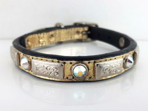 Dog Collar Square Crystal in gold metallic Italian leather with AB Swarovski crystals