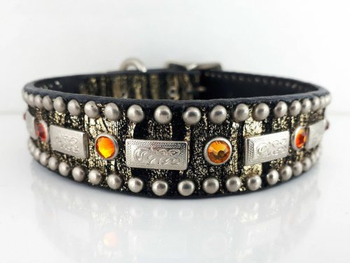 Dog collar Square Crystal in midnight gold Italian leather with fire opal Swarovski crystals