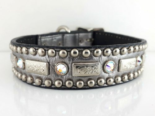 Dog collar Square Crystal in pewter metallic Italian leather with AB Swarovski crystals