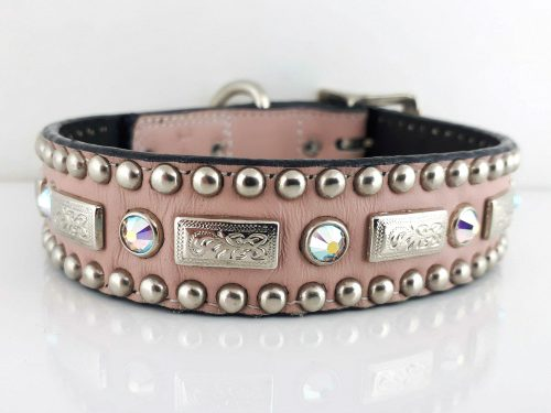 Dog Collar Square Crystal in pink Italian leather with AB Swarovski crystals
