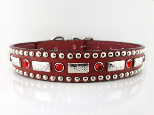 Dog Collar Square Crystal in red Italian leather with siam Swarovski crystals