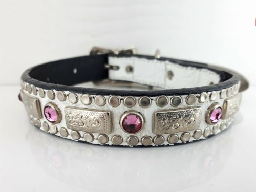 Dog collar Square Crystal in white Italian crocko leather with rose Swarovski crystals