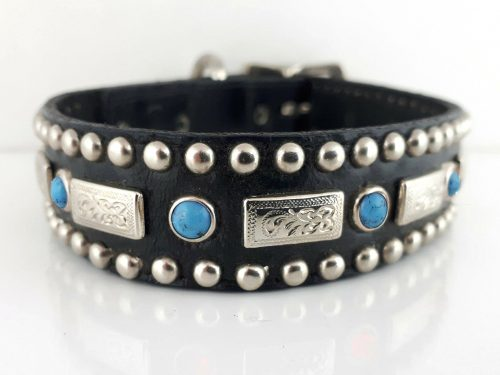 Dog collar Square Turquoise in black Italian leather with blue turquoise