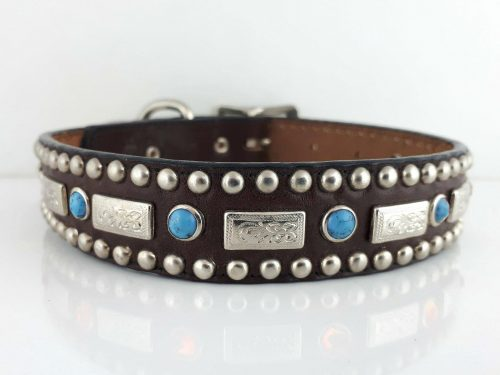 Dog collar Square Turquoise in brown Italian leather with blue turquoise
