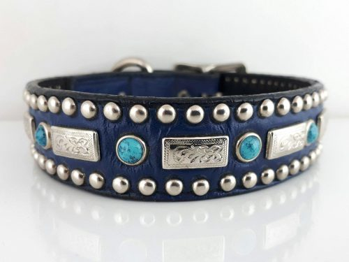 Dog collar Square Turquoise in indigo Italian leather with blue turquoise