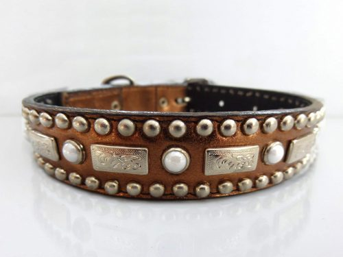 Dog collar Square Pearl in bronze metallic Italian leather with white pearls