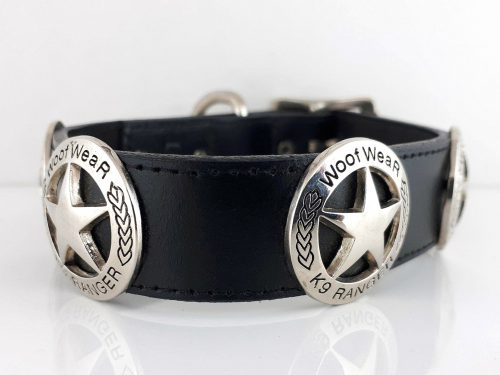 Dog collar TX Stars in black Italian leather