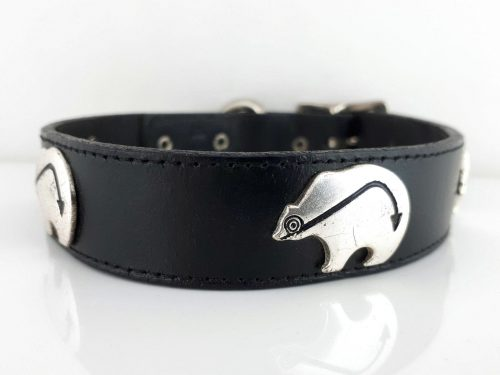 Dog collar Ten Bears in black Italian leather with silver bears