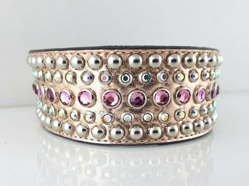 Dog collar Dog collar Diva in pink metallic Italian leather with rose and AB Swarovski crystals