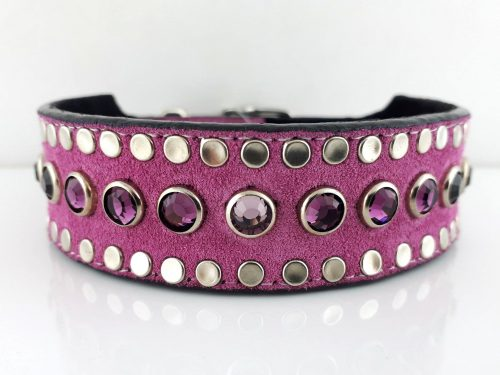 Dog collar Tiny Micro Diva in Italian leather and hot pink suede with amethyst and light amethyst Swarovski crystals
