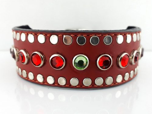 Dog collar Tiny Micro Diva in red Italian leather with siam and peridot Swarovski crystals