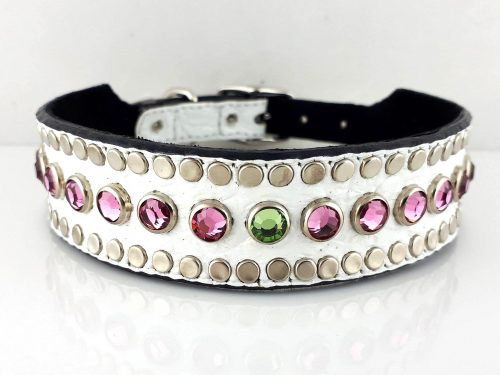 Dog collar Tiny Micro Diva in white Italian crocko leather with rose and peridot Swarovski crystals
