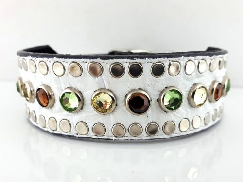 Dog collar Tiny Micro Diva in white Italian crocko leather with smoke, peridot & jonquil Swarovski crystals