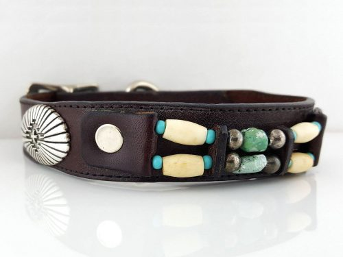 Dog collar Turquoise & Hairpipe in brown Italian leather with blue turquoise