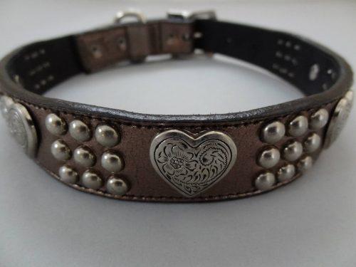 Dog collar Heart & Heavy bronze metallic leather with Swarovski crystals