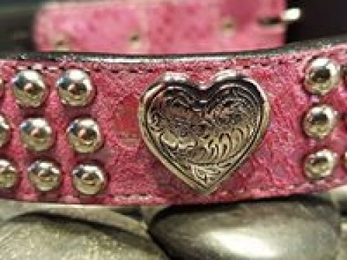 Dog collar Heart & Heavy pink pearl suede and leather with Swarovski crystals