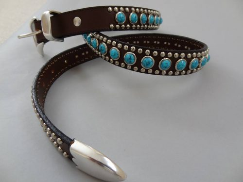 Jumbo Turquoise belt in brown Italian leather and blue turquoise