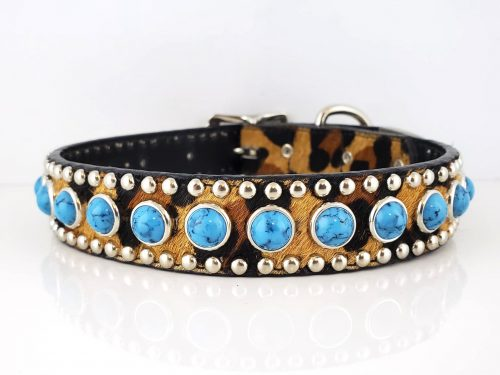 Dog Collar Jumbo Turquoise in Italian leather and baby leopard cow hair from Brazil with blue jumbo turquoise