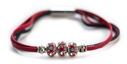 Kangaroo leather bracelet in red & silver