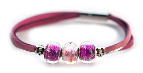 Kangaroo leather bracelet in pink & silver