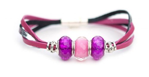 Kangaroo leather bracelet in hot pink & silver