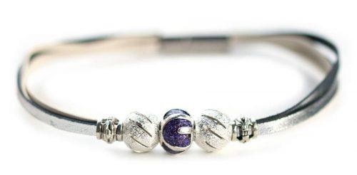 Kangaroo leather bracelet in silver & white