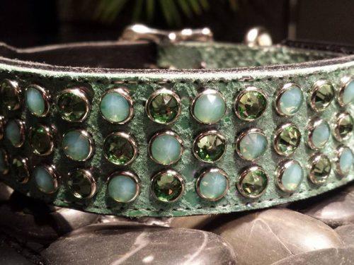 Dog collar Mucho aquamarine suede and leather with Swarovski crystals