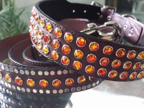 Dog collar Mucho brown leather with Swarovski crystals