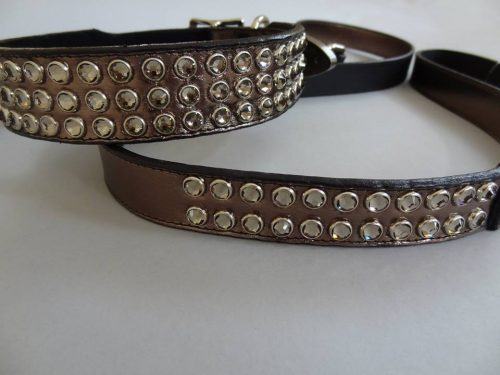 Dog collar Mucho pewter metallic leather with Swarovski crystals