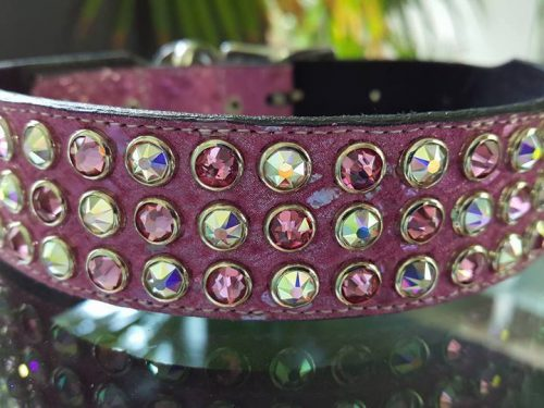 Dog collar Mucho leather and pink pearl suede with Swarovski crystals