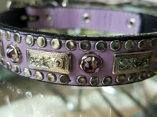 Dog collar Square Crystal lavender leather with Swarovski crystals and ornaments