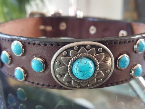 Dog collar Southwest Mideval in brown Italian leather with conchos and turquoise