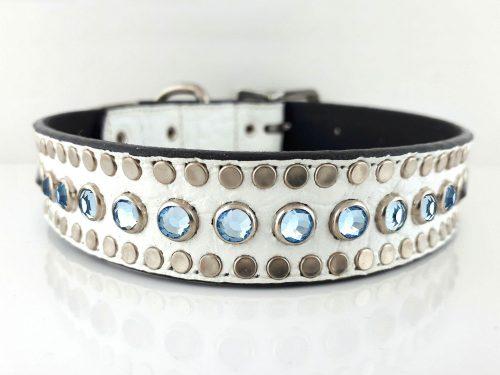 Dog collar All Swarovski in white Italian crocko leather with aqua Swarovski crystals