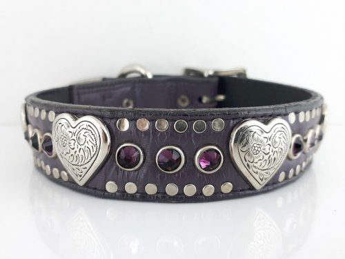 Dog Collar Heart & Crystal in eggplant Italian leather with amethyst Swarovski crystals