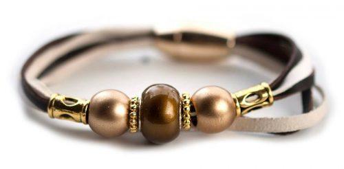Kangaroo leather bracelet in brown & cream
