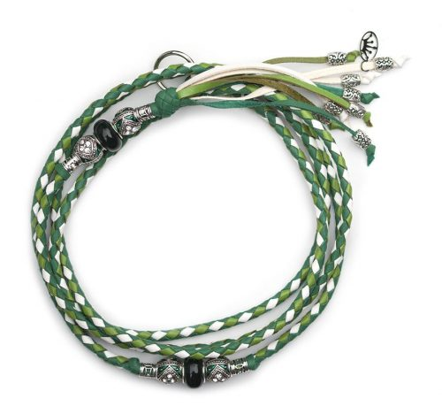 Kangaroo leather show lead in apple, jade & white 2