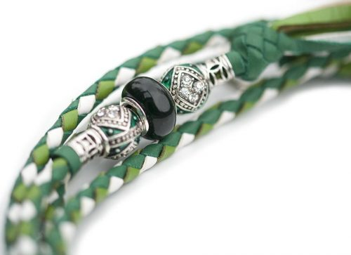 Kangaroo leather show lead in apple, jade & white 3