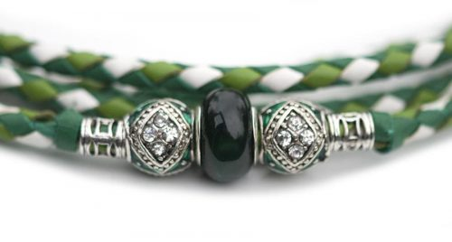 Kangaroo leather show lead in apple, jade & white 4