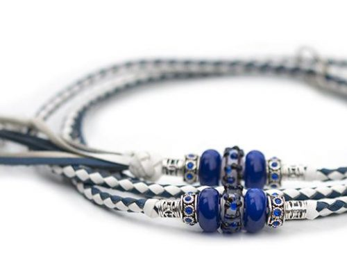 Kangaroo leather show lead in royal blue & white 1