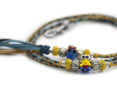 Kangaroo leather show lead in sky blue, jacaranda & yellow